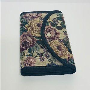Floral Carpet Clutch   Multi Compartment Vintage